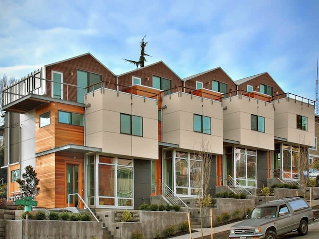 Denny rowhouses modern green seattle architects david for Modern townhouse architecture
